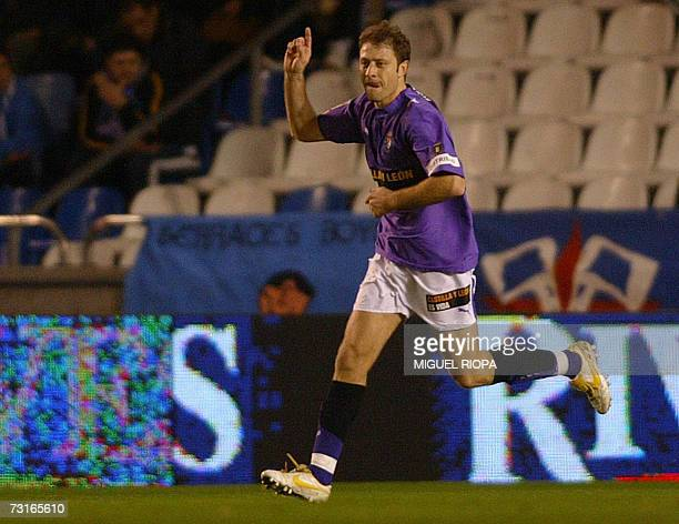 Real Valladolid's Bulgarian Vladimir Manchev celebrates after scoring against Deportivo Coruna during their King's Cup football match at the Riazor...