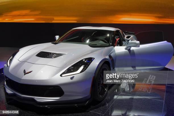 La Corvette Z06 version 2017 présentée sur le stand Chevrolet dans le cadre du salon international de l'automobile à Genève en Suisse le 8 mars 2017...