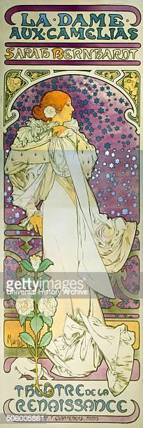 La dame aux camelias Sarah Bernhardt Theatre de la Renaissance by Alphonse Mucha 18601939 artist Poster showing Sarah Bernhardt as Camille fulllength...