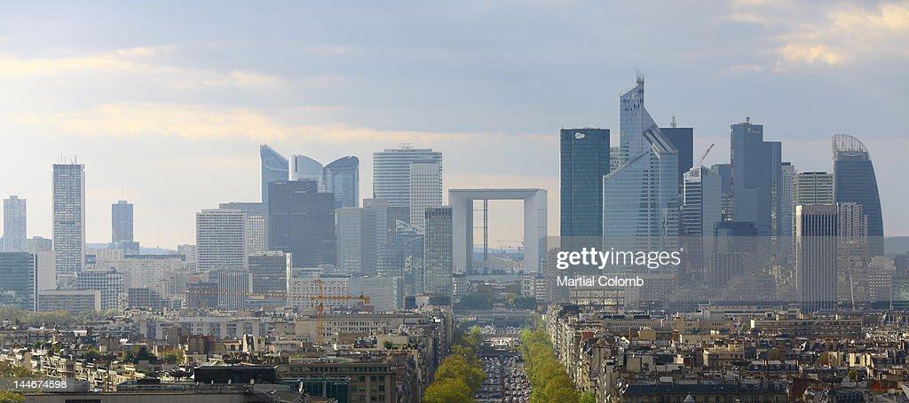 La Defense and Paris : Stock Photo