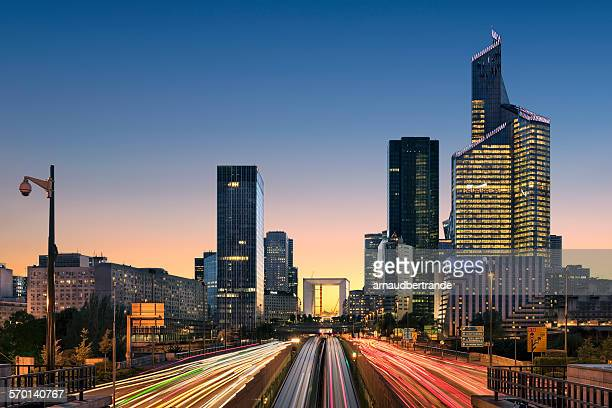 La Defense at night, Paris, France