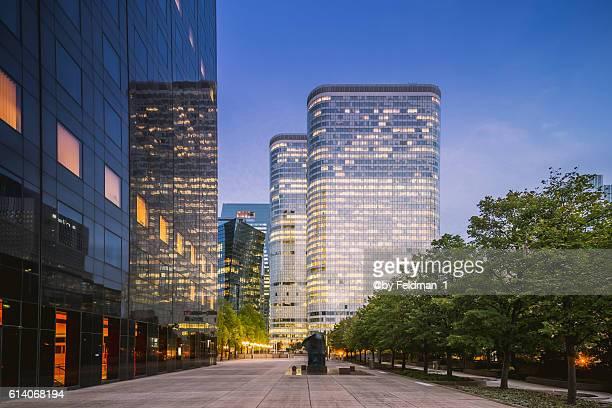 La Defense business district at dusk - Paris, France