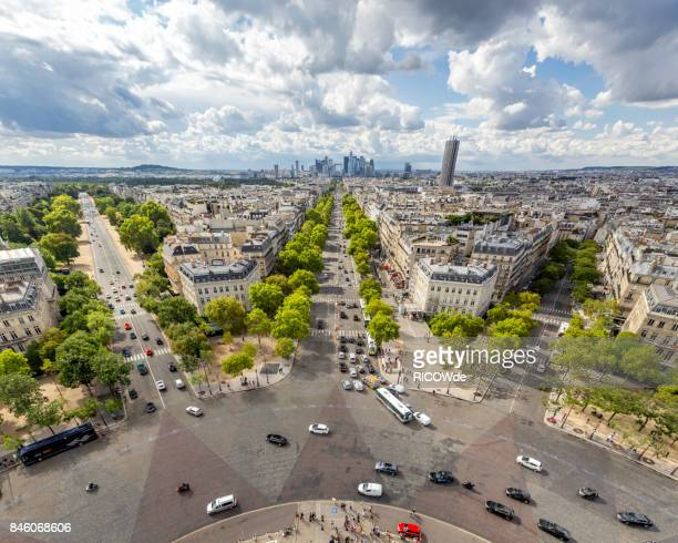 la defense from the arc de triomphe - place charles de gaulle paris stock photos and pictures