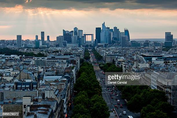 la défense financial district aerial view, paris (france) - place charles de gaulle paris stock photos and pictures