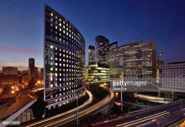 La Défense, the business district of Paris at bleu hour in France.
