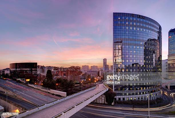 La Défense, the business district of Paris at sunset in France.