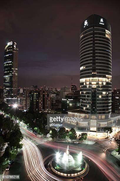 La Diana Fountain and Skyline at Mexico city, Mexico