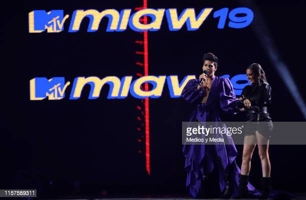 La Divaza and Celia Lora as a presentators at ceremony of the MTV MIAW Awards at Palacio de los Deportes on June 21 2019 in Mexico City Mexico