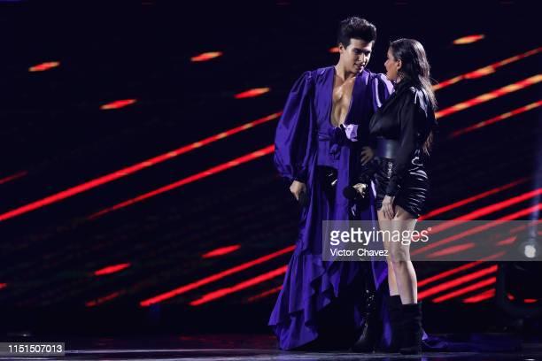 La Divaza and Celia Lora speak on stage during the MTV MIAW Awards 2019 at Palacio de los Deportes on June 21 2019 in Mexico City Mexico