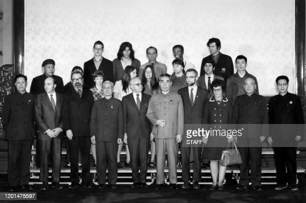 La délégation sportive de pongistes américains est accueillie par le leader communiste chinois Chou En-Lai , en avril 1971 lors de leur voyage à...