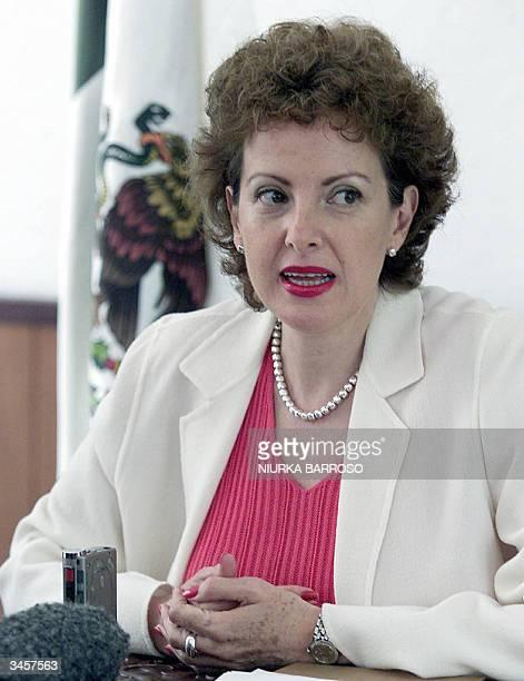 La embajadora de Mexico en Cuba, Roberta Lajous, habla en una conferencia de prensa para informar que hoy se realizo la visita consular al ciudadano...