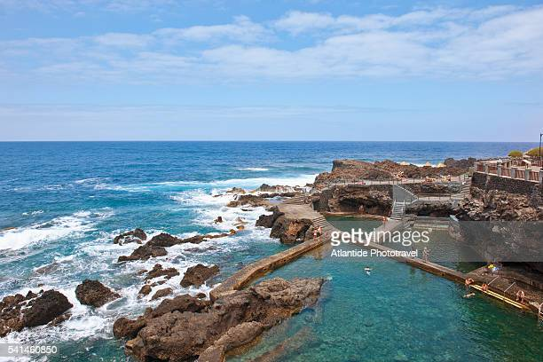la fajana, near barlovento is famous for the reef and the salt-water swiming pools, la palma, spain - canary islands stock pictures, royalty-free photos & images