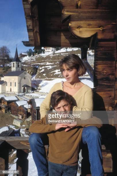 La famille Bennent deux generations de comediens en vacancesDavid Bennent et sa soeur Anne le 4 janvier 1984