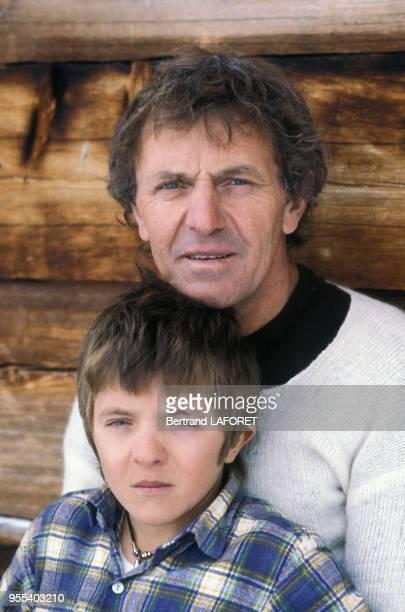 La famille Bennent deux generations de comediens en vacancesDavid Bennent et son père Heinz Bennent le 4 janvier 1984