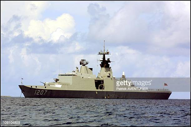 """""""La Fayette"""" Class Stealth Frigate, Sold To Taiwan By France, On Call In Tuvalu On November 4Th, 2002 In Funafuti, Tuvalu."""