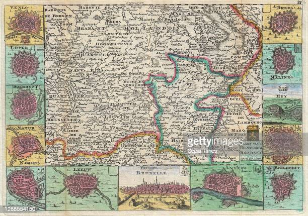 La Feuille Map of Brabant, vicinity of Brussels, Belgium.