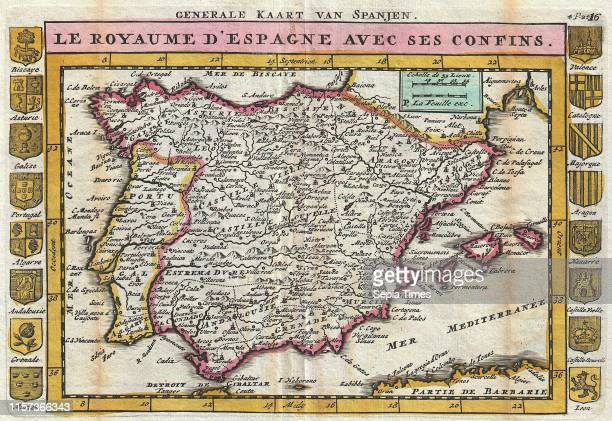 1747 La Feuille Map of Spain and Portugal