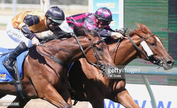La Fleurette ridden by Georgina Cartwright wins the City of Ballarat FM BM70 Handicap at SportsbetBallarat Racecourse on March 12 2018 in Ballarat...