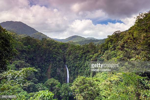 La Fortuna waterfall in the green rainforest of Costa Rica
