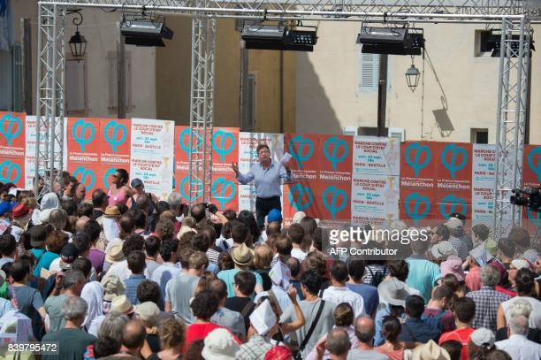 La France Insoumise leftist party's leader and MP JeanLuc Melenchon gives a speech on the last day of the LFI summer conference in Marseille southern...