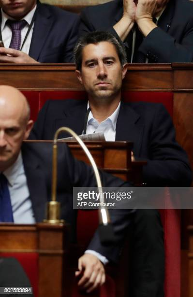 La France Insoumise leftist party's Member of Parliament Francois Ruffin attends a session on June 28 2017 at the National Assembly in Paris one day...