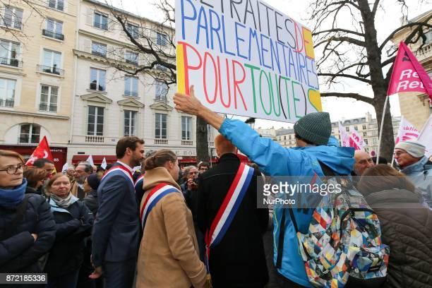 La France Insoumise leftist party's members of parliament Adrien Quatennens Ugo Bernalicis and Mathilde Panot take part in a demonstration of...