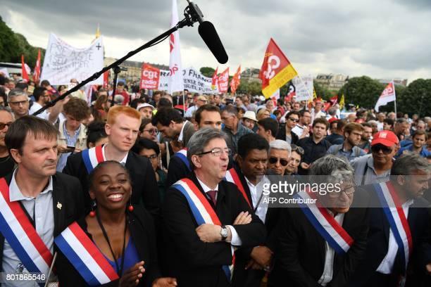 La France Insoumise leftist party's Members of Parliament party's leader JeanLuc Melenchon Michel Larive Daniele Obono Adrien Quatennens Eric...