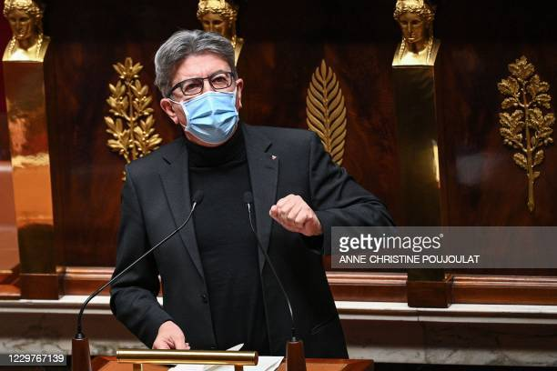 La France Insoumise parliamentary group's president Jean-Luc Melenchon speaks on November 24, 2020 during a session at the French National Assembly...