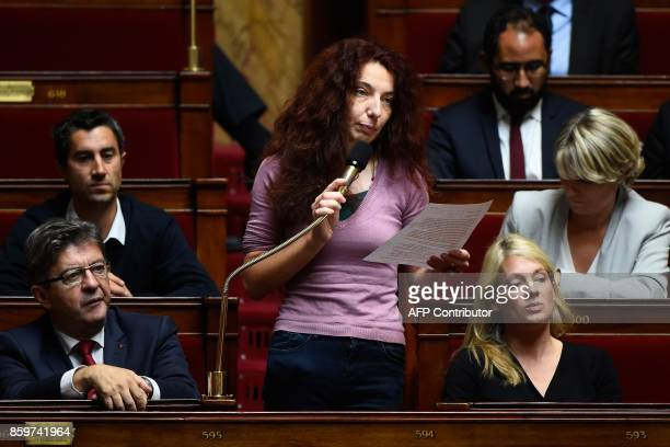 La France Insoumise party's Members of Parliament Benedicte Taurine flanked by MP Francois Ruffin and LFI party leader JeanLuc Melenchon speaks...