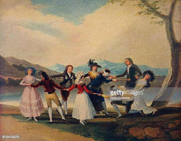 La Gallina Ciega' Rococo cartoon produced by Spanish artist Francisco de Goya for tapestries at the Royal Palace of El Pardo Boys and girls play the...