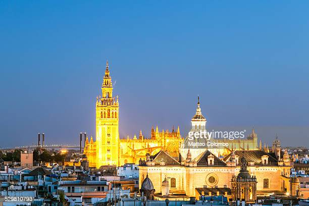 La Giralda bell tower and city of Seville, Spain