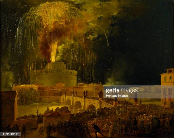 Fireworks at Castel Sant'Angelo in Rome, 1830s. Found in the Collection of Thorvaldsens Museum, Copenhagen. Artist Caffi, Ippolito .