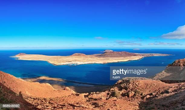La Graciosa island panorama, Lanzarote, Kanarieöarna