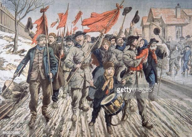 La grève des mineurs du PasDeCalais après la catastrophe de Courrières illustration paru dans 'Le Petit Journal' du 1er avril 1906 France