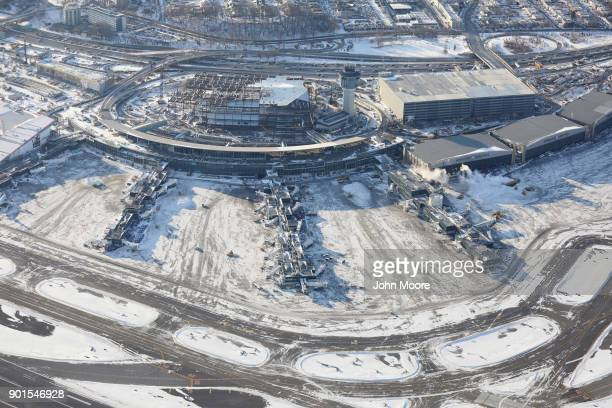 La Guardia Airport awaits arriving flights after runways were plowed of snow on January 5 2018 in the Queens borough of New York City Under frigid...