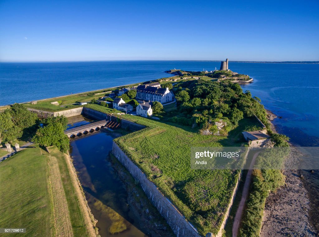 La Hougue, aerial view of the Vauban fortifications and the tower. : News Photo
