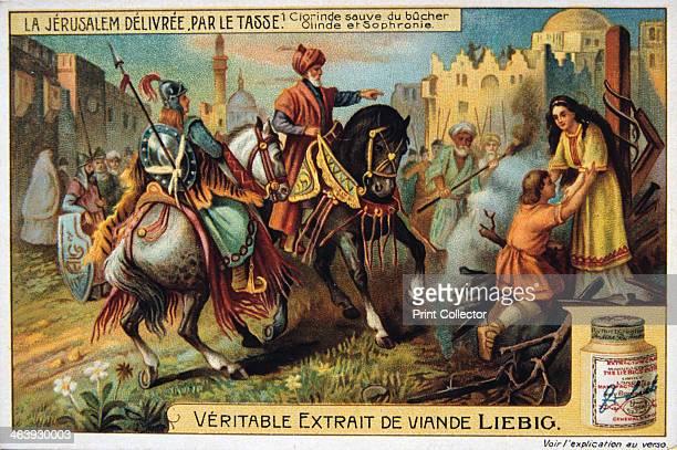 La Jerusalem deliveree par le Tasse Clorinde saved from burning 19th Century Colour Lithograph Private collection