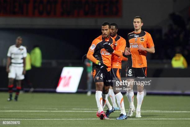 La joie de Alaixys ROMAO Lorient / Rennes 15eme journee de Ligue 1