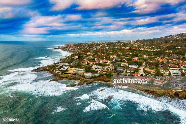 la jolla coast aerial - coastline stock pictures, royalty-free photos & images