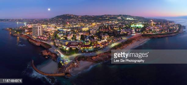 la jolla from the air at night - la jolla stock pictures, royalty-free photos & images