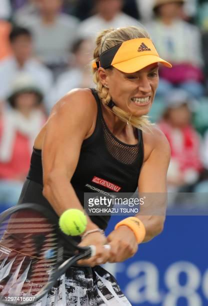 """La joueuse de tennis allemande Angelique Kerber lors de la demi finale du tournoi de tennis """"Toray Pan Pacific Open"""" le 21 septembre 2019 à Osaka,..."""