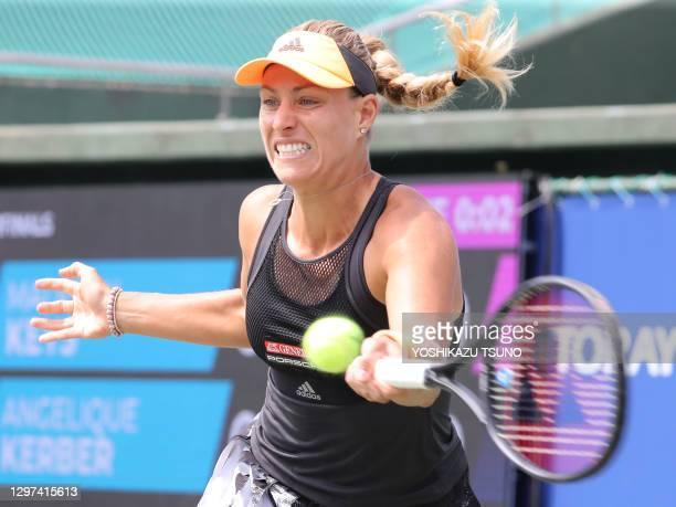 """La joueuse de tennis allemande Angelique Kerber lors de sa victoire en quart de finale du tournoi de tennis """"Toray Pan Pacific Open"""" le 20 septembre..."""