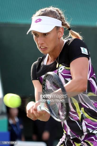 """La joueuse de tennis belge Elise Mertens lors de la demi finale du tournoi de tennis """"Toray Pan Pacific Open"""" le 21 septembre 2019 à Osaka, Japon."""