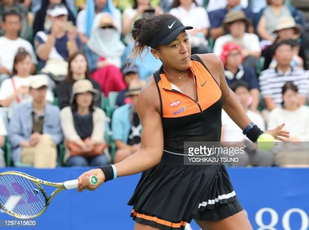 """La joueuse de tennis japonaise Naomi Osaka lors de la finale du tournoi de tennis """"Toray Pan Pacific Open"""" le 22 septembre 2019 à Osaka, Japon."""