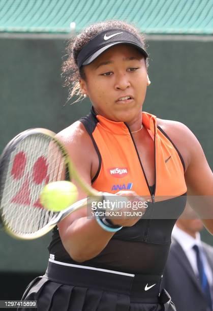 """La joueuse de tennis japonaise Naomi Osaka lors du quart de finale du tournoi de tennis """"Toray Pan Pacific Open"""" le 21 septembre 2019 à Osaka, Japon."""