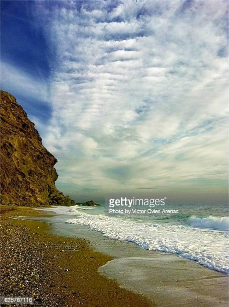 la joya, isolated, quiet, nudist beach in motril, granada - victor ovies fotografías e imágenes de stock