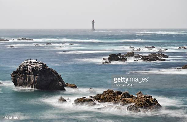 la jument lighthouse in iroise sea - la jument stock pictures, royalty-free photos & images
