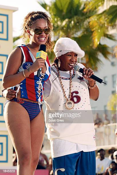 La La and rapper Missy Elliot appear during a taping for MTV Spring Break 2003 at the Surfcomber Hotel March 12 2003 in Miami Beach Florida