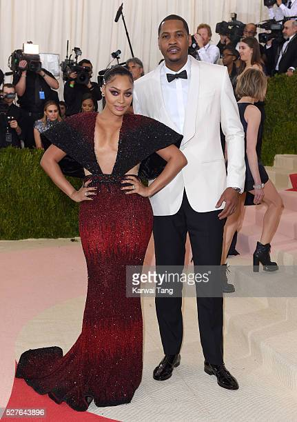 La La Anthony and Carmelo Anthony arrive for the 'Manus x Machina Fashion In An Age Of Technology' Costume Institute Gala at Metropolitan Museum of...