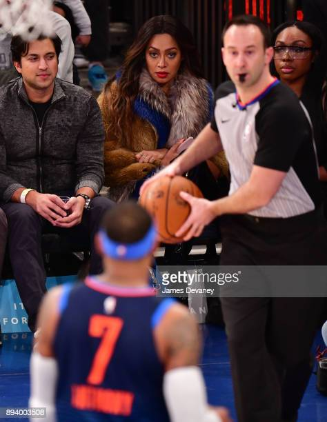 La La Anthony and Carmelo Anthony attend the Oklahoma City Thunder Vs New York Knicks game at Madison Square Garden on December 16 2017 in New York...